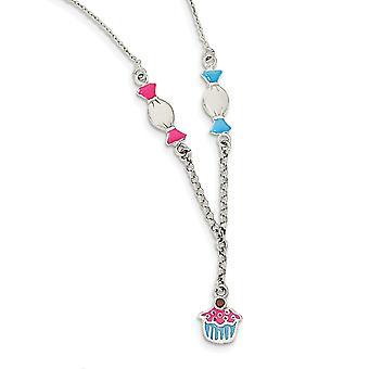 925 Sterling Silber Emaille Granat Süßigkeiten und Eis für Jungen oder Mädchen Halskette 14 Zoll