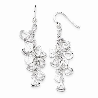 925 Sterling Silver Polished Chain With Charms Dangle Shepherd Hook Earrings Jewelry Gifts for Women