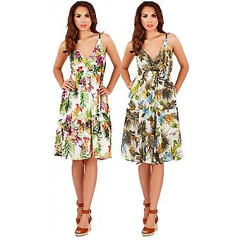 Pistachio Women's Floral & Bird Frilled Sun Dress