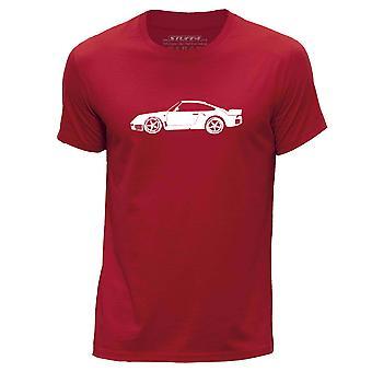 STUFF4 Men's Round Neck T-Shirt/Stencil Car Art / 959/Red