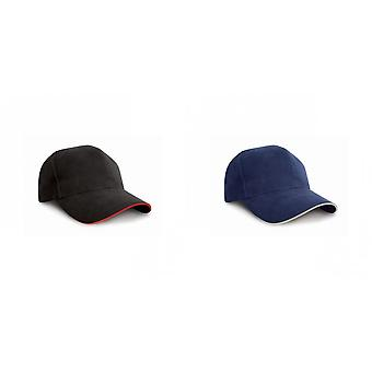 Result Pro-Style Heavy Brushed Cotton Baseball Cap With Sandwich Peak (Pack of 2)
