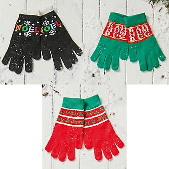 Christmas Shop Unisex Adults Novelty Christmas Message Gloves