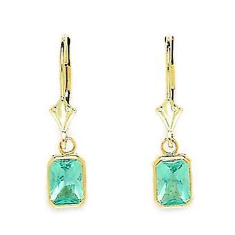 14k Oro Giallo Marzo Lt Blu C'Emerald Taglio Leverback Orecchini Misure 25x6mm Gioielli Regali per le Donne