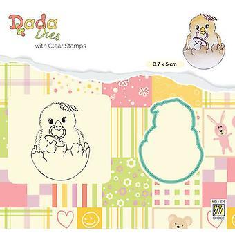 Nellie's Choice DADA Die & Clear stamp Hello World DDCS021 38x50mm (01-20)