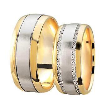 Bicolor wedding rings mat and high gloss with diamonds