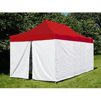 Tente pliante FleXtents® PRO, tente médicale et d'urgence, 3x6m, Rouge/Blanc, 6 parois latérales incluses