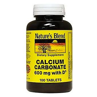 Nature's blend calcium carbonate, 600 mg, with d3, tablets, 100 ea