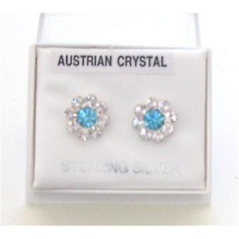 TOC Sterling Silver Blue & Clear Crystal Set Flower Stud Earrings 9mm