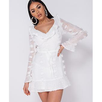 Dobby Frill Detail Mini Dress - Ladies - White
