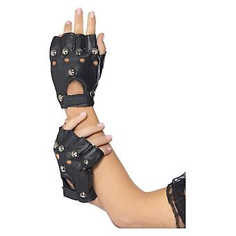 Adults Black Studded Punk Gloves Fancy Dress Accessory