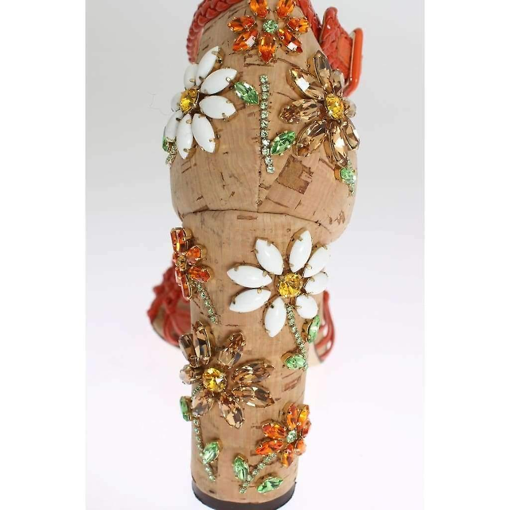 Dolce & Gabbana Orange Leather Cork Crystal Sandals -- LA30570949 48MqA