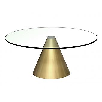 Gillmore Large Round Clear Glass Coffee Table With Conical Brass Base