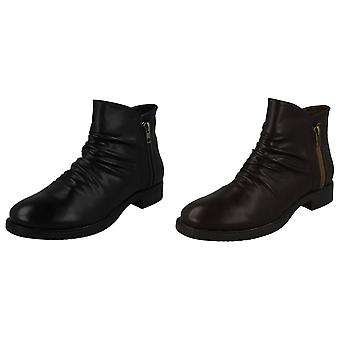 Spot On Womens/Ladies Ruched Zip Ankle Boots