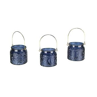 Set of 3 Medallion Disc Textured Blue Glass 4.25 Inch Tall Tealight Candle Lanterns with Wire Handles