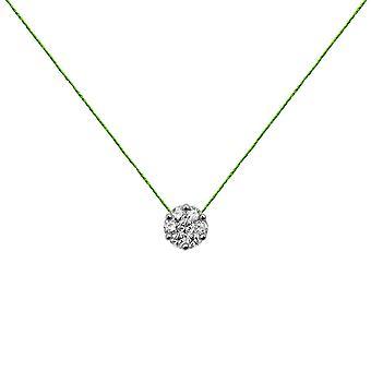Choker Flower Cluster 18K Gold and Diamonds, on Thread - White Gold, NeonGreen