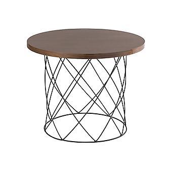 Tavolino Da Caffe' Annis Color Noce Scuro, Nero in MDF, Metallo 60x60x45 cm