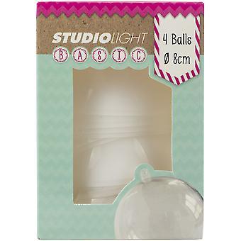 استوديو ضوء الكرة البلاستيكية زخرفة 8cm 4/ Pkg-