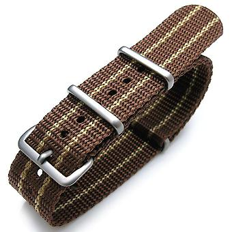 Strapcode watch strap nato 20mm g10 james bond heavy nylon strap brushed buckle - jt21 brown & yellow