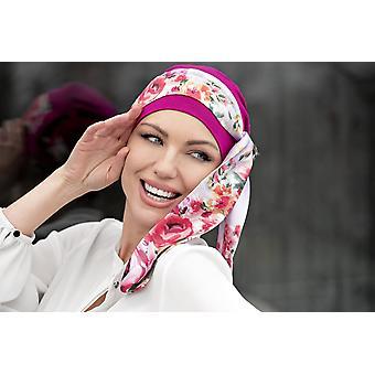 Tampa de quimioterapia roxa com envoltório floral | Yanna Camellia Roxa