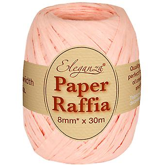 Peachy Pink 8mm x 30m Paper Raffia Ribbon Roll - Recyclable & Biodegradable