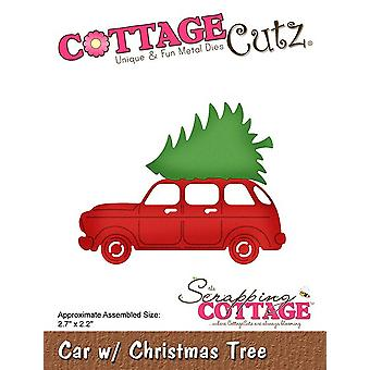 Scrapping Cottage Car with Christmas Tree