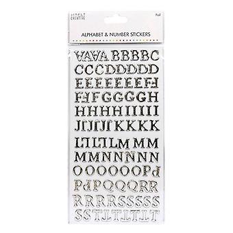 Simplesmente Alfabeto Criativo e es;amp; Adesivos numédicos - Prata da Folha Tradicional