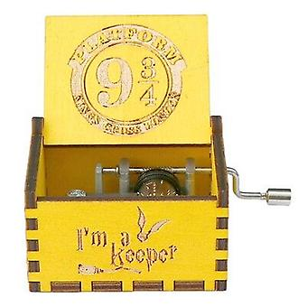 Platform 9 3/4 King's Cross London Wooden Hand Crank Yellow Music Box - Harry