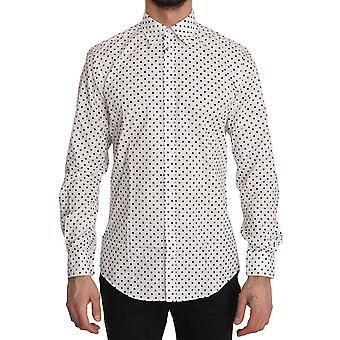 Dolce & Gabbana Black Polka Dot MARTINI White Cotton Shirt