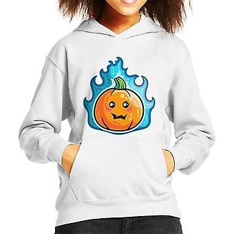 Blue Flaming Cute Pumpkin Kawaii Kid's Hooded Sweatshirt