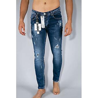 Paint Drops Pants - Skinny Fit Jeans - Blue
