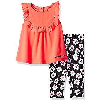 Calvin Klein Baby Girls 2 Pieces Legging Set Pants, Bright Coral/Print, 6-9 M...