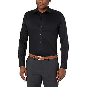 BUTTONED DOWN Men's Slim Fit Stretch Twill Non-Iron Dress Shirt, Black, 15.5