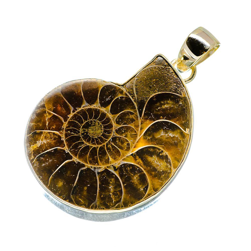 "Ammonite Fossil Pendant 1 3/4"" (925 Sterling Silver)  - Handmade Boho Vintage Jewelry PD735295"