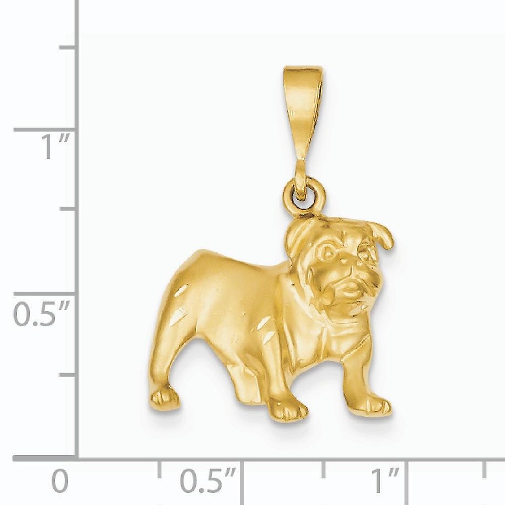 14 k Gelbgold solide Satin öffnen zurück funkeln geschnitten Bulldog-Anhänger Halskette Maßnahmen 29.1x19.7mm Schmuck Geschenke für Frauen