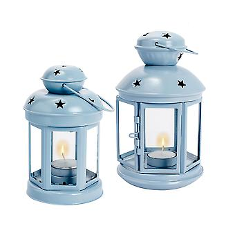 Nicola Spring Candle Lanterns Tealight Holders Metal Hanging Indoor Outdoor - Blue - Set of 2