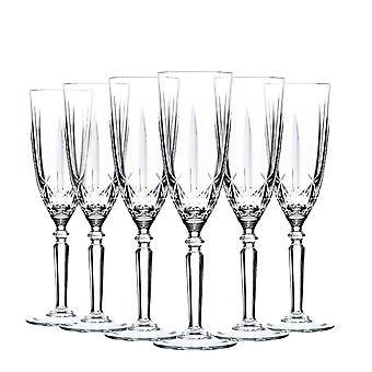 RCR Crystal Orchestra Cut Glass Champagne Flutes Glasses Set - 200ml - Pack of 6