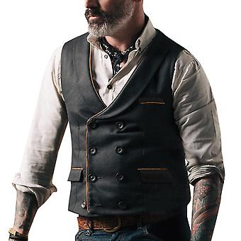YANGFAN Mens V-Neck Waistcoat Double Breasted Vest