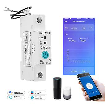 Single Phase Din Rail Wifi Smart Energy Meter Power Consumption With Alexa