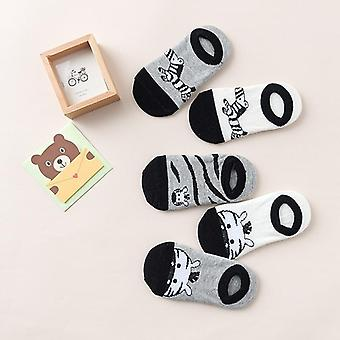 Children Short Socks, Cartoon Zebra Pattern, Soft Cotton
