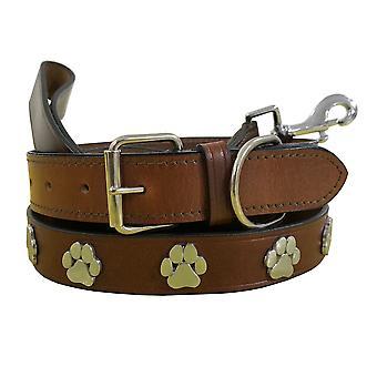 Bradley crompton genuine leather matching pair dog collar and lead set bcdc8lightbrown