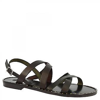 Leonardo Schuhe Frauen 's handgemachte flache Slingback Sandalen mit gekreuzten Riemen in schwarzem Kalbsleder