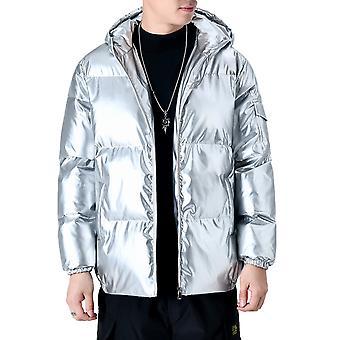 Allthmen Men's Trendy Cotton Jacket Reflective Zipper Plus Size Warm Winter