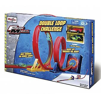 Tobar Maisto Double Loop Challenge Playset With 2 Diecast Cars