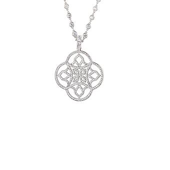 Silver White Celtic Knot Clover CZ Bridal Statement Jewellery Necklace Pendant