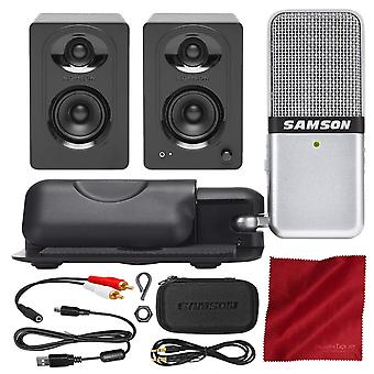 Samson go mic usb mikrofoni mac ja PC (hopea) kanssa samson mediaone m30 studio monitorit lisävaruste paketti