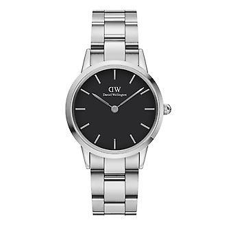 Daniel Wellington DW00100206 Iconic Silver Tone With Black Dial Wristwatch