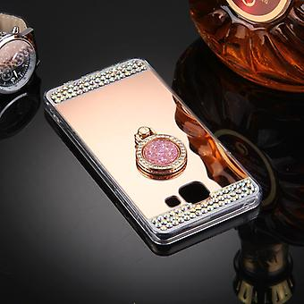 Pour Galaxy A7 (2016) / A710 Diamond Incrusted Electroplating Mirror Protective Cover Case with Hidden Ring Holder (Rose Gold)