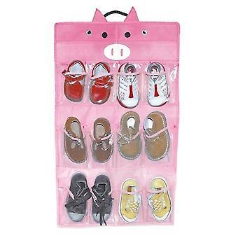 12 Slots Children's Organiser - Pig Design, Ready to Hang & Fill
