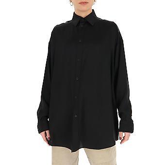 Balenciaga 646840tjn051000 Frauen's schwarze Seide Shirt