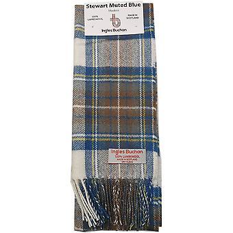 Lambswool Scarf - Stewart Muted Blue Tartan by Ingles Buchan